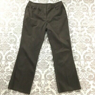 "Chicos Womens Pants size 8 Short Brown Brushed Cotton Stretch Straight x28"" insm"