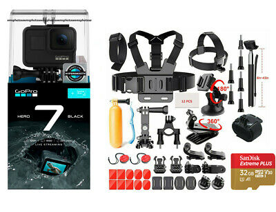 NEW SEALED GoPro HERO7 Black 12 MP Waterproof 4K Camera + Ultimate Action Bundle