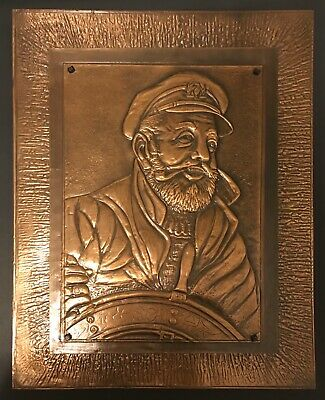 Hammered Arts & Crafts Mission Copper Relief  SHIP SEA CAPTAIN Antique Wall Art!