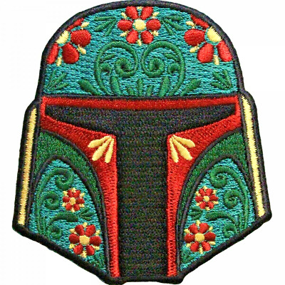 Star Wars Boba Fett Sugar Skull Helmet Embroidered Patch -new