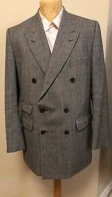 Hield Bros Vintage Prince Of Wales Check Mens Double Breasted Suit 44 38 32