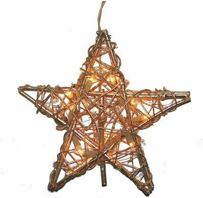 Kurt Adler 10 Light Indoor Rattan Gold Star Treetop