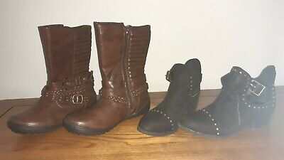 Girls TU Brown Boots new without tag & Primark Black studded boots used size 13