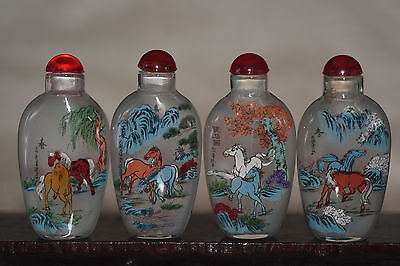 """4pc Chinese folk Inside painting """"Eight Horses Figure"""" glass snuff bottle"""