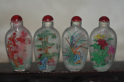 "4pc Chinese folk Inside painting ""Meilan Bamboo chrysanthemum""glass snuff bottle"