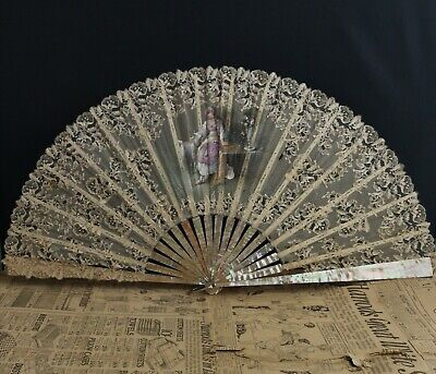 Antique hand fan, lace and mother of pearl, boxed, Spanish