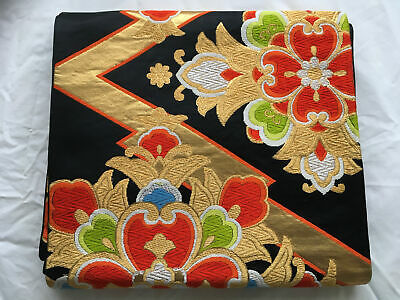 Gorgeous Japanese Pattern Silk Obi Belt - Black, Gold & Orange