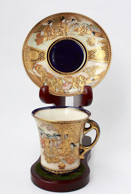 Antique Japanese Satsuma Meiji Kinkozan Cup and Saucer