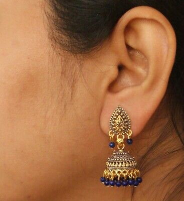 Ethnic Bollywood Painted Small Gold Indian Blue Pearl Jhumka Jhumki Earrings