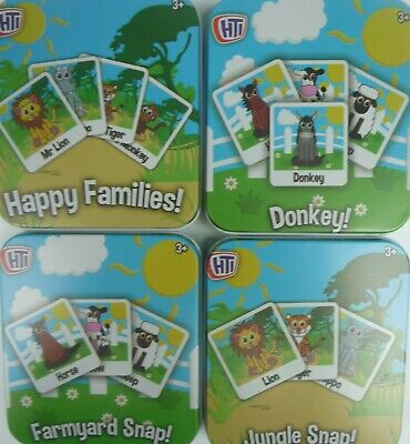 Colourful Children's Card Games in Tin. Snap, Happy Families or Donkey