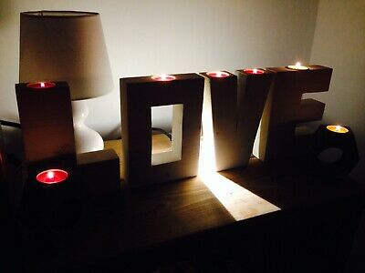 Hand Made Rustic Wooden Candle Holder (LOVE)