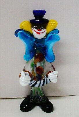 "Vintage Italian Murano Multicolored Glass Clown Figurine w/ Concertina 10"" tall"