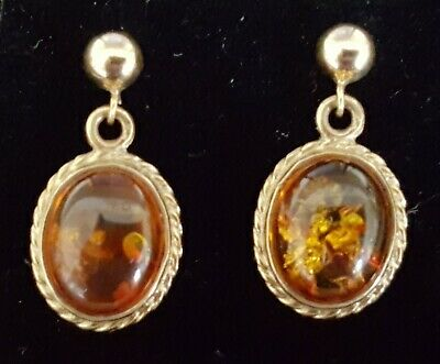 9 carat solid gold & amber vintage Victorian antique earrings