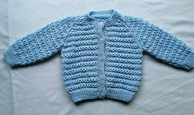 Hand Knitted Baby Cardigan in Blue to fit 9-12 month old