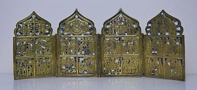Russian Travel Antique Icon Skladen Tetraptych Brass Enamel Orthodox  Moscow