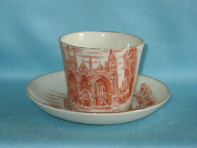 """Goss Cup & Saucer (1.5"""") - PETERBOROUGH CATHEDRAL red transfer"""