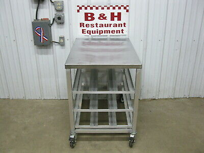 """25 3/4"""" x 35 3/8"""" Aluminum Half Size Can Rack Work Table w/ Stainless Steel Top"""
