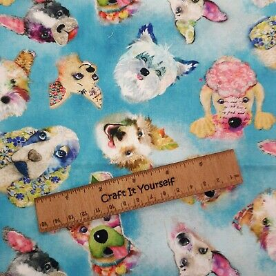 Dog glittery 100% cotton fabric 44 inch/ 110cm colourful doggy doggie pooch
