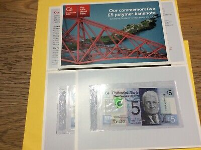 Clydesdale Bank Polymer £5 1st Prefix FB1 In Ltd Edition Folder Mint Condition