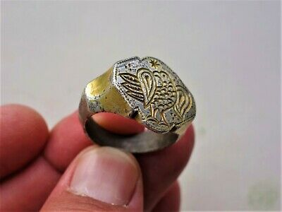 late Roman / Middle Ages solid silver gilt ring, displayed bird and star carved