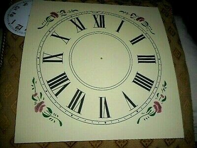 "Large Paper (Card) Clock Dial - 7 1/2"" M/T - Floral Corners - CREAM - Parts"