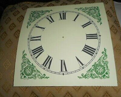 "Large Paper (Card) Clock Dial - 7 1/4"" M/T - Green Corners - MATT -Parts/Spares"