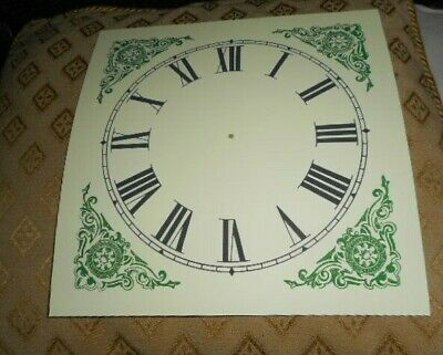 "Large Paper (Card) Clock Dial - 7 1/2"" M/T - Green Corners - MATT - Parts/Spares"