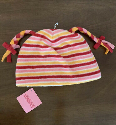 NWT Gymboree Girls Pink Striped Winter Hat Size 5-7