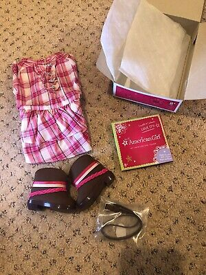 New My American Girl Doll Western Plaid Outfit New in Box Dress Boots NIB