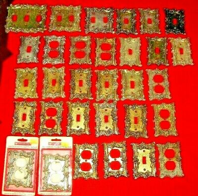 (31) Antique Hollywood Regency Hardware Brass Light Switches Electric Covers