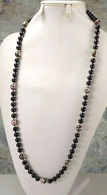 """Vintage Chinese Cloisonne Enamel & Black Onyx Bead Knotted Necklace 30"""""""