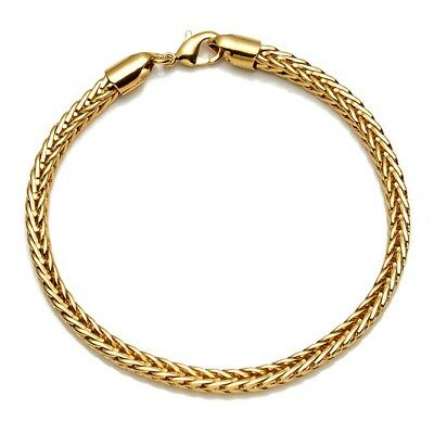 """Square Bracelet for Men Women 18K Yellow Gold Filled Chain 8"""" Link Jewelry"""