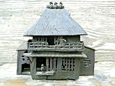 Antique Chinese Hot Cast Bronze Incense Burner The Shape Of A House + Figures