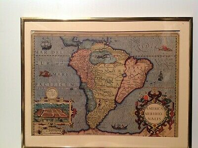Antique Print Map Of South America Language In Latin Framed In Glass Old