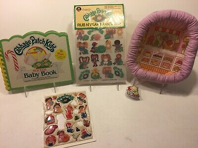 Cabbage Patch Kids Opened Rub N' Play Transfers & Used 1983 Sticker Baby Book