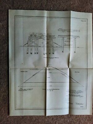 1914 Panama Canal East Breakwater Colon Crossection and Trestle Diagram