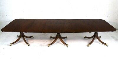 Regency Style Solid Mahogany Extending Three Pillar Dining Table & 2 Leaves