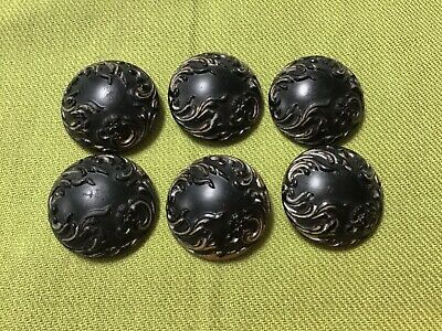 Antique lot set Victorian 6 black & silver glass metal shank buttons fancy NICE!