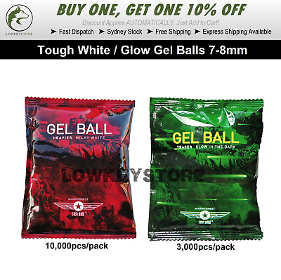 7-8mm Gel Balls Hardened Tough Milky White/Glow for Gel Blaster Ammo Toy Water