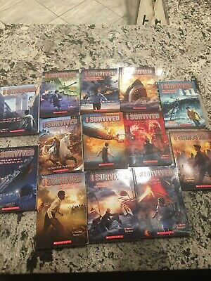I Survived 13 Book Series Set Lot Molasses D-Day Grizzlies Lauren Tarshis Shark
