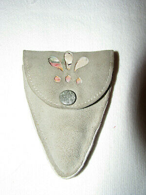 """Vintage Gray Suede Sewing/Needle Case W/2-1/2"""" Scissors Germany"""