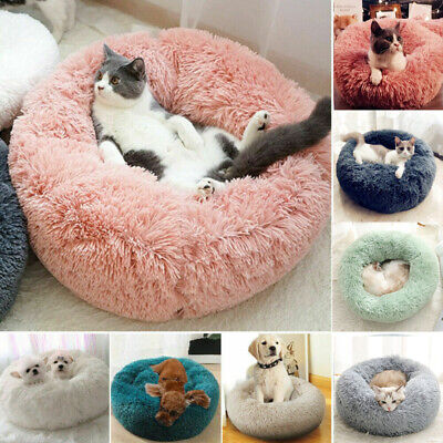 Large Luxury Shag Warm Fluffy Pet Bed Dog Puppy Kitten Fur Donut Cushion Mat