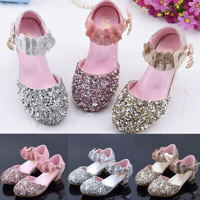 Infant Kids Baby Girls Pearl Crystal Bling Single Party Princess Shoes Sandals