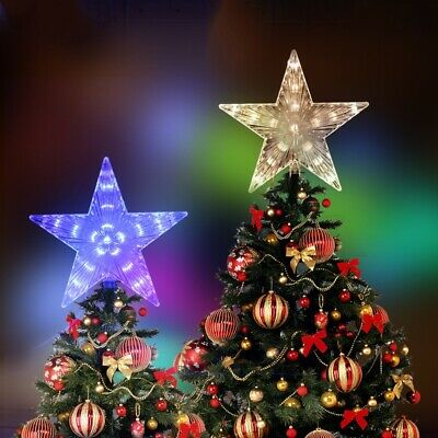 Glitter LED Tree Topper Star light Xmas Christmas Decoration With Extender Cable