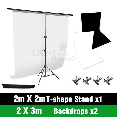 Photography Studio 2X3M Black White Backdrop Screen T type Background Stand Kit