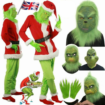 HOT The Grinch Adult Costume Cosplay How the Grinch Stole Christmas Outfits UK