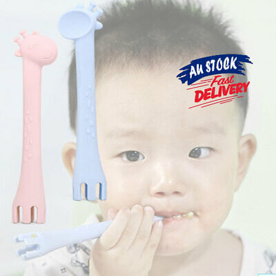 2 In 1 Feeding Spoon Fork Baby Spoon Safety Tableware Giraffe Cartoon Silicone