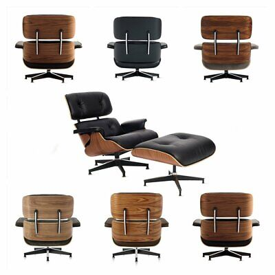 White/Black Genuine Leather Eames Lounge Chair and Ottoman Palisander Walnut HOT