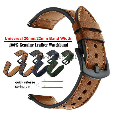 Premium Genuine Leather Watch Band Strap Quick-Fit 20mm 22mm Universal Wristband