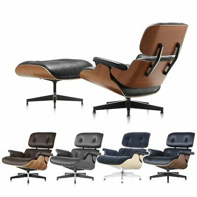 Palisander Walnut For Eames Lounge Chair And Ottoman 100%Italian Leather Genuine